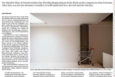 Von der Kunst, Freiraum zu haben - Zürcher Stimmen zum Thema Freiraum anlässlich des Perla Mode-Abbruchs (TA, 6.2.15)