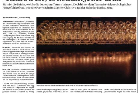 """""""Kein Stress, es kommt jeder dran"""" - Reportage einer Nacht als Bartender im Hive Club (TA, 11.6.14)"""