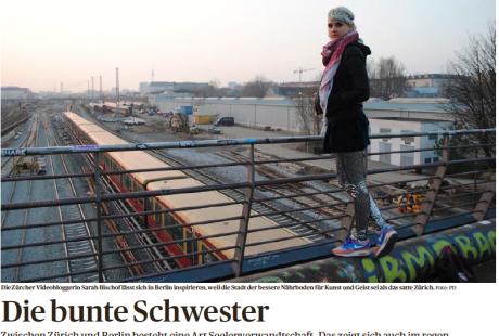 """""""Die bunte Schwester"""", Artikel im Tages-Anzeiger von Reda El-Arbi über die Beziehung Berlin-Zürich am Beispiel von u.a. Pony Hü"""